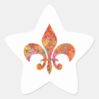 Designer Fleur-de-Lis Star Sticker