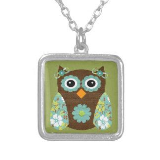 Designer Flower Owl Necklace