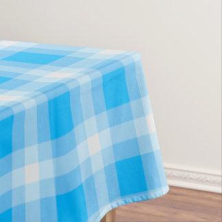 Designer gingham pattern baby blue tablecloth
