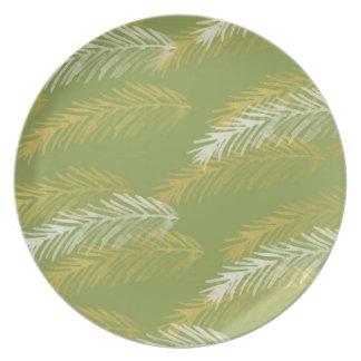 Designer Gold & White Leaves | Green Dinner Plate