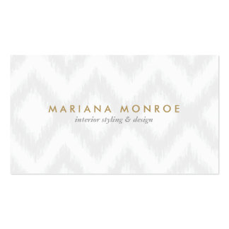 DESIGNER IKAT PATTERN in GRAY/WHITE Business Card Templates