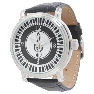 Designer Piano Keys and Treble Clef wristwatch