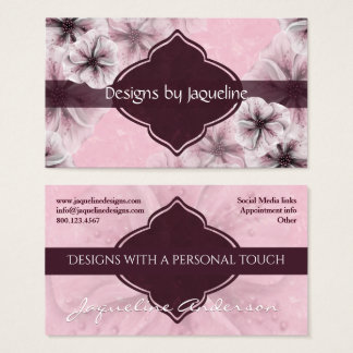 Designer Pink Floral Business Card