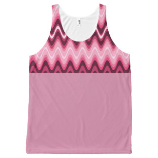 Designer Pink Wave Sports Ware by Bubbleblue All-Over Print Tank Top