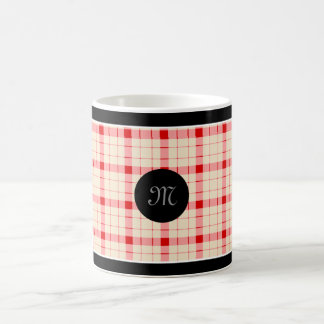 Designer plaid / gingham  pattern red and beige coffee mug