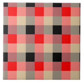 Designer plaid / gingham  pattern red and beige large square tile