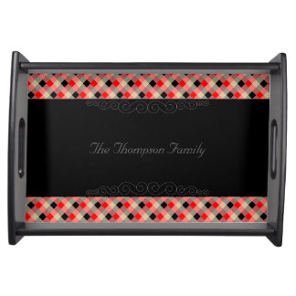 Designer plaid / gingham  pattern red and beige serving tray