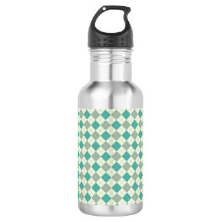 Designer plaid pattern green and beige 532 ml water bottle