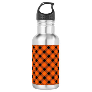Designer plaid pattern orange and Black 532 Ml Water Bottle