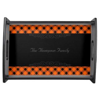 Designer plaid pattern orange and Black Serving Tray