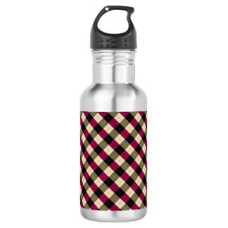 Designer plaid pattern purple, green and Black 532 Ml Water Bottle