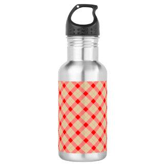 Designer plaid pattern red and beige 532 ml water bottle