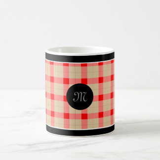 Designer plaid pattern red and beige coffee mug
