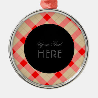 Designer plaid pattern red and beige metal ornament