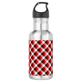 Designer plaid pattern red and Black 532 Ml Water Bottle