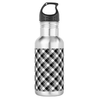 Designer plaid /tartan pattern beige and Black 532 Ml Water Bottle