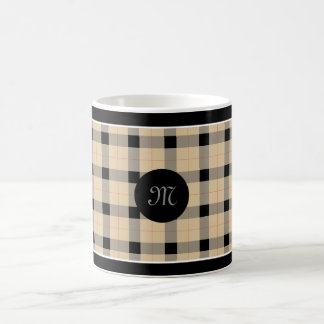 Designer plaid /tartan pattern beige and Black Coffee Mug