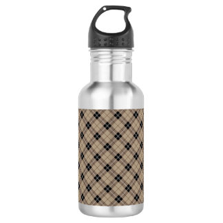 Designer plaid /tartan pattern brown and Black 532 Ml Water Bottle