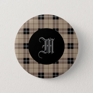 Designer plaid /tartan pattern brown and Black 6 Cm Round Badge