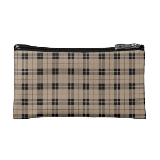 Designer plaid /tartan pattern brown and Black Cosmetic Bag