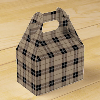 Designer plaid /tartan pattern brown and Black Favour Box