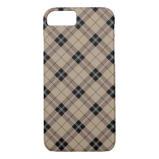 Designer plaid /tartan pattern brown and Black iPhone 8/7 Case