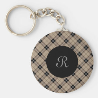 Designer plaid /tartan pattern brown and Black Key Ring