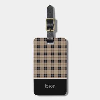 Designer plaid /tartan pattern brown and Black Luggage Tag