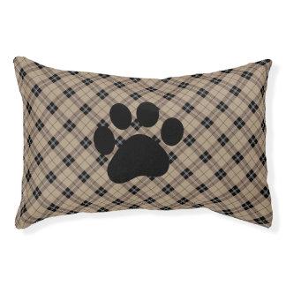 Designer plaid /tartan pattern brown and Black Pet Bed