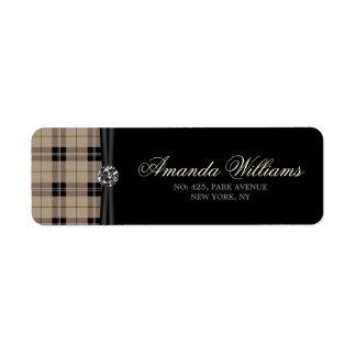 Designer plaid /tartan pattern brown and Black Return Address Label
