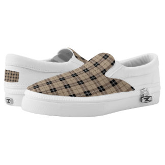 Designer plaid /tartan pattern brown and Black Slip On Shoes