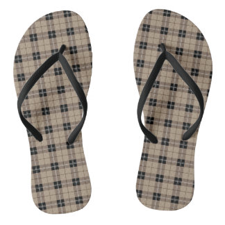 Designer plaid /tartan pattern brown and Black Thongs