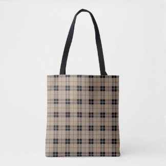 Designer plaid /tartan pattern brown and Black Tote Bag