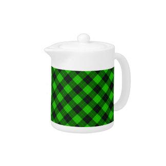 Designer plaid / tartan pattern green and black