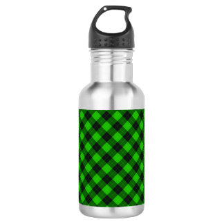 Designer plaid / tartan pattern green and black 532 ml water bottle
