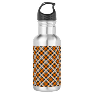 Designer plaid /tartan pattern orange and Black 532 Ml Water Bottle