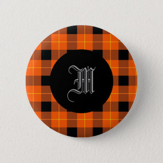 Designer plaid /tartan pattern orange and Black 6 Cm Round Badge