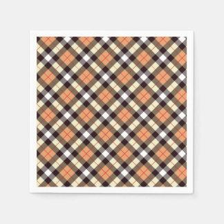 Designer plaid /tartan pattern orange and Black Disposable Napkin