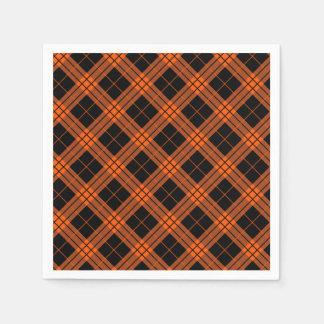 Designer plaid /tartan pattern orange and Black Disposable Serviettes