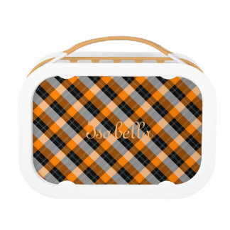 Designer plaid /tartan pattern orange and Black Lunch Box