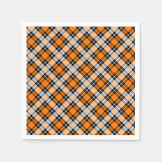 Designer plaid /tartan pattern orange and Black Paper Napkin