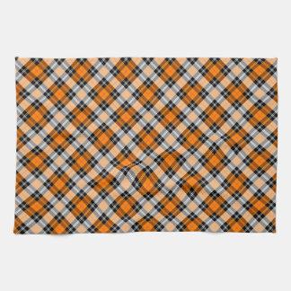 Designer plaid /tartan pattern orange and Black Tea Towel