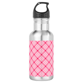 Designer plaid / tartan pattern pink and black 532 ml water bottle