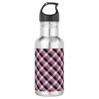 Designer plaid /tartan pattern pink and Black 532 Ml Water Bottle