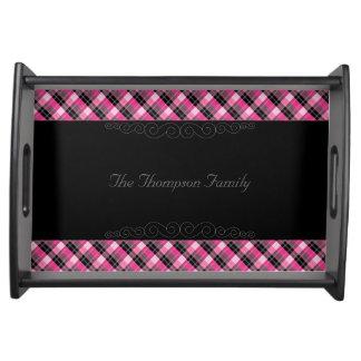 Designer plaid /tartan pattern pink and Black Serving Tray