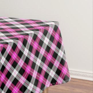 Designer plaid / tartan pattern pink and black tablecloth