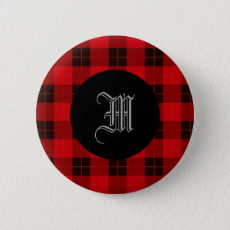 Designer plaid / tartan pattern red and black 6 cm round badge
