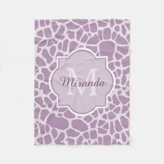 Designer Purple Monogram Giraffe Print and Name Fleece Blanket