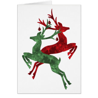 Designer Reindeer Christmas Card in Red and Green