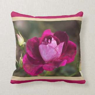 Designer Rich Pink Rose And Buds Pillow Throw Cushion